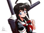 1girl 90s ahoge black_hair black_serafuku blue_eyes braid cannon choroli_(chorolin) hair_over_shoulder huge_ahoge kantai_collection looking_at_viewer neckerchief parody red_neckerchief rigging school_uniform serafuku shigure_(kantai_collection) signature simple_background single_braid smile solo style_parody white_background white_sailor_collar