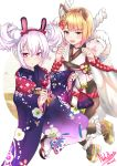 2girls :3 :d :o absurdres animal_ears azur_lane bangs bare_shoulders black_legwear blonde_hair blue_kimono blush bow braid brown_eyes brown_footwear candy_apple collarbone commentary crossover detached_sleeves dog_ears eyebrows_visible_through_hair fingernails floral_print food granblue_fantasy hair_between_eyes hair_up hairband highres holding holding_food japanese_clothes kimono kinchaku laffey_(azur_lane) long_sleeves multiple_girls nail_polish nekobox obi open_mouth pantyhose parted_lips pouch print_kimono rabbit_ears red_bow red_hairband sash silver_hair sleeveless smile socks tabi vajra_(granblue_fantasy) violet_eyes white_background white_legwear white_nails wide_sleeves zouri