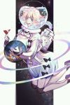 1girl :d absurdres astronaut black_bow blonde_hair blue_eyes bow breasts cleavage_cutout commentary_request constellation dress ez_1011 floating giantess gloves helmet highres holding holding_flag large_breasts legs_up looking_down mini_flag open_mouth original oxygen_tank planet smile solo water