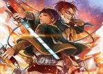 1boy 1girl brown_eyes brown_hair capelet day dual_wielding glasses grin hange_zoe holding holding_sword holding_weapon levi_(shingeki_no_kyojin) military military_uniform outdoors ponytail shingeki_no_kyojin short_hair sketch smile sword three-dimensional_maneuver_gear uniform weapon yorukage