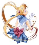 1girl artist_name bishoujo_senshi_sailor_moon blue_eyes blue_skirt bow choker closed_mouth elbow_gloves gloves hair_ornament hairclip hatsuo highres long_hair looking_back miniskirt red_bow sailor_collar sailor_moon skirt tsukino_usagi twintails very_long_hair white_background white_gloves