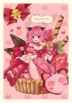 +1_(yakusoku0722) 1girl :3 :d animal_ears bare_shoulders bell boots border bow cat_ears cat_tail chocolate choker copyright_name cupcake dress fangs food fruit giant_object gloves heart highres holding jingle_bell knee_boots looking_at_viewer mew_ichigo momomiya_ichigo open_mouth pink_dress pink_eyes pink_hair puffy_short_sleeves puffy_sleeves red_gloves short_hair short_sleeves simple_background sitting sitting_on_food smile solo strawberry sweets tail tail_bow thigh_strap tokyo_mew_mew