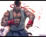 >:( arm_guards aura bare_shoulders belt black_belt boyaking brown_eyes brown_hair clenched_hand closed_mouth collarbone commentary_request dougi fighting_stance headband karate_gi letterboxed looking_to_the_side male_focus muscle ryuu_(street_fighter) serious simple_background spiky_hair street_fighter thick_eyebrows upper_body white_background