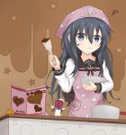 1girl akatsuki_(kantai_collection) anchor_symbol apron bangs beret bird black_hair blue_eyes blush bow bowl brown_background chibi chocolate chocolate_on_face closed_mouth commentary_request eyebrows_visible_through_hair fairy_(kantai_collection) fingernails food food_on_face hair_between_eyes hair_bow hat head_scarf holding holding_bowl kantai_collection long_hair long_sleeves looking_away looking_to_the_side low_twintails mixing_bowl moai21 pink_apron pink_bow pocket pointing polka_dot polka_dot_apron redhead sailor school_uniform serafuku shirt spatula squiggle star starry_background twintails valentine wavy_mouth white_hat white_shirt