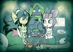 30s 4girls black_eyes bloodstained:_ritual_of_the_night blue_eyes breasts bun_cover cala_maria_(cuphead) character_request cleavage commentary crossover cup cuphead_(game) double_bun flat_chest forehead_jewel giantess giga_mermaid green_hair mermaid monster_girl mother_and_daughter multiple_crossover multiple_girls no_pupils purple_hair setz shantae:_half-genie_hero shantae_(series) small_breasts tea_party teacup tentacle_hair underwater