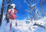 1girl :d bare_arms beanie black_eyes black_hair blue_sky boots coat day drifloon footprints hair_ornament hairclip hat hikari_(pokemon) knee_boots long_hair long_sleeves looking_to_the_side looking_up open_mouth outdoors pink_boots pink_coat piplup pippi_(pixiv_1922055) pokemon pokemon_(game) pokemon_dppt running scarf scenery sky sleeves_past_wrists smile snover snow thigh-highs white_legwear white_scarf winter winter_clothes winter_coat