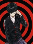 10s 1boy black_hair glasses highres kurusu_akira looking_at_viewer male_focus persona persona_5 school_uniform short_hair simple_background smile solo teshima_nari