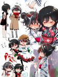 2girls ahoge alternate_costume alternate_hairstyle asymmetrical_wings bare_legs black_dress black_hair black_legwear blush boots butterfly_net candy_apple closed_eyes coat comic commentary_request dress earmuffs floral_print food fruit hair_bun hand_net hat horns houjuu_nue japanese_clothes kijin_seija kimono looking_at_viewer makura_shiitsu multicolored_hair multiple_girls obi open-back_dress pointy_ears red_eyes red_scarf redhead sash scarf short_dress short_hair skirt spitting standing straw_hat streaked_hair sweat thigh-highs touhou translation_request watermelon watermelon_seeds white_hair white_kimono white_skirt wings winter_clothes winter_coat yukata