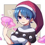1girl antinomy_of_common_flowers bangs blue_hair breasts capelet commentary_request doremy_sweet eyebrows_visible_through_hair hair_between_eyes hat highres kozakura_(dictionary) looking_at_viewer medium_breasts nightcap open_mouth pom_pom_(clothes) short_hair smile solo touhou upper_body violet_eyes