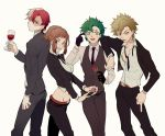 1girl 3boys alcohol alternate_hairstyle back-to-back bakugou_katsuki belt black_gloves blonde_hair blue_eyes boku_no_hero_academia brown_eyes brown_hair clenched_teeth cup dress_shirt drinking_glass earrings expressionless flower formal gloves green_eyes green_hair grey_hair heterochromia highres hip_bones jewelry looking_at_viewer looking_back middle_finger midoriya_izuku midriff multicolored_hair multiple_boys navel necktie nervous_smile open_mouth red_eyes red_rose redhead ring rose shirt spiky_hair suit teeth todoroki_shouto tongue tongue_out two-tone_hair uraraka_ochako vest wanbo white_hair wine wine_glass