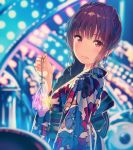 1girl bag bagged_fish bangs blurry blurry_background brown_hair commentary_request earrings festival fish floral_print freckles from_side furihata_ai japanese_clothes jewelry kimono long_hair looking_at_viewer obi parted_lips real_life red_eyes sash siva_(executor) solo upper_body wide_sleeves yukata