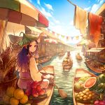 1girl akagi_shun apple awning banana basket black_hair blue_sky blush boat closed_mouth cloth clouds corn dragon_fruit food from_behind fruit hair_ornament holding_oar laundry leaf leaf_hat leaf_on_head long_hair long_sleeves looking_at_viewer low-tied_long_hair market oar original outdoors parasol plate pomelo pot purple_hair railing red_eyes revision river sash signature sitting sky smile solo_focus string_of_flags striped thatched_roof tropical umbrella water watercraft watermelon