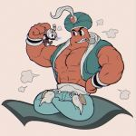 2boys abs arabian_clothes cuphead cuphead_(game) djimmi_the_great drinking_straw full_body genie giant grey_background hand_on_hip indian_style lamp looking_at_another magic_carpet male_focus multiple_boys muscle nipple_slip nipples orange_skin pac-man_eyes picking_up pipe shorts simple_background sitting vest