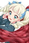 1girl :d aikatsu! bangs blonde_hair blue_eyes blue_sweater blunt_bangs blush commentary_request drill_hair eyebrows_visible_through_hair fang foreshortening highres holding_clothes lens_flare lens_flare_abuse long_hair long_sleeves looking_at_viewer open_mouth red_scarf scarf sekina simple_background smile solo standing sweater toudou_yurika twin_drills white_background