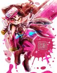 +_+ 1girl ankle_boots aori_(splatoon) black_footwear black_jumpsuit boots brown_eyes dated detached_collar domino_mask double_v earrings food food_on_head full_body gloves grin harutarou_(orion_3boshi) hero_roller_(splatoon) highres holding holding_weapon ink_tank_(splatoon) jewelry long_hair looking_at_viewer mask mole mole_under_eye object_on_head one_eye_closed paint_splatter pantyhose pointy_ears purple_legwear short_jumpsuit smile solo splatoon splatoon_1 standing standing_on_one_leg strapless tentacle_hair v weapon white_gloves