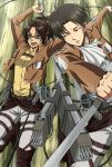 1boy 1girl :d black_eyes black_hair boots brown_footwear brown_hair dress_shirt dual_wielding forest glasses grey_neckerchief grey_pants grey_shirt hange_zoe high_ponytail highres holding holding_sword holding_weapon knee_boots levi_(shingeki_no_kyojin) meiyaku nature neckerchief open_mouth outdoors pants shingeki_no_kyojin shirt short_hair smile sword three-dimensional_maneuver_gear tree weapon yellow_shirt