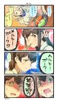 ... 3girls 4koma :d akagi_(kantai_collection) blonde_hair blue_eyes brown_eyes brown_hair comic commentary_request drooling eating food food_on_face heart highres holding_chopsticks kaga_(kantai_collection) kantai_collection long_hair multiple_girls nonco open_mouth richelieu_(kantai_collection) shaded_face short_hair side_ponytail smile speech_bubble spoken_heart tonkatsu translation_request