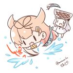 0_0 2girls :d basket bow chibi commentary_request dress fang fish fishing hair_bow hair_flaps hair_ornament hair_ribbon hairclip kantai_collection lifting light_brown_hair long_hair momoniku_(taretare-13) multiple_girls northern_ocean_hime open_mouth ribbon saury scarf shinkaisei-kan simple_background sketch smile translation_request twitter_username white_background white_dress white_hair white_skin yuudachi_(kantai_collection) |_|