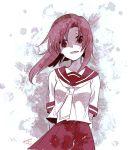 1girl arms_behind_back dated higurashi_no_naku_koro_ni hiroichi looking_at_viewer monochrome pleated_skirt ryuuguu_rena school_uniform serafuku short_hair signature skirt solo