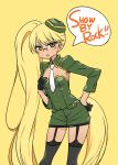 >:o 1girl :o absurdly_long_hair bangs beret black_gloves blonde_hair chan_co cleavage_cutout copyright_name eyebrows_visible_through_hair glasses gloves green_hat green_jacket green_skirt half_gloves hand_on_hip hand_on_own_chest hat jacket leaning_forward long_hair long_sleeves looking_at_viewer miniskirt necktie retoree show_by_rock!! simple_background skirt solo speech_bubble standing symbol_in_eye thigh-highs very_long_hair white_necktie yellow_background yellow_eyes