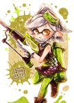 +_+ 1girl ankle_boots black_footwear boots brown_eyes dated detached_collar domino_mask dress earrings face_mask food food_on_head full_body gloves green_legwear grey_hair harutarou_(orion_3boshi) hero_charger_(splatoon) highres holding holding_weapon hotaru_(splatoon) ink_tank_(splatoon) jewelry leg_up looking_at_viewer mask mask_pull mole mole_under_eye object_on_head parted_lips pointy_ears short_dress short_hair solo splatoon splatoon_1 squidbeak_splatoon standing standing_on_one_leg strapless strapless_dress tentacle_hair weapon white_gloves