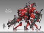 character_name commentary_request dated gia gradient gradient_background grey_background gun highres mecha original science_fiction signature soldier walker weapon