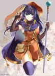 1girl blue_hair cyaca_ab elbow_gloves fire_emblem fire_emblem:_akatsuki_no_megami fire_emblem:_souen_no_kiseki gloves green_eyes hat holding long_hair looking_at_viewer smile solo staff thigh-highs wayu_(fire_emblem) witch_hat