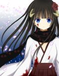 1girl black_hair black_scarf blood blood_on_face blue_eyes brown_hakama eyebrows_visible_through_hair flat_chest floating_hair flower hair_flower hair_ornament hakama horns inu_x_boku_ss japanese_clothes kimono long_hair looking_at_viewer parted_lips petals red_flower scarf shirakiin_ririchiyo solo soraneko93 standing upper_body white_kimono