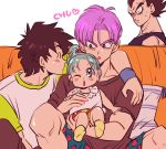 1girl 3boys black_eyes black_hair black_shirt blue_eyes blue_hair bra_(dragon_ball) brothers carrying closed_eyes couch dragon_ball dragonball_z eyebrows_visible_through_hair father_and_daughter father_and_son hand_on_another's_shoulder heart imminent_kiss looking_at_another miiko_(drops7) multiple_boys one_eye_closed open_mouth pillow purple_hair shirt short_hair siblings simple_background socks son_goten spiky_hair sweatdrop trunks_(dragon_ball) vegeta white_background white_shirt wristband