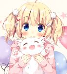 1girl :d ^_^ ahoge balloon bangs blonde_hair blue_eyes blush bow cat cat_day closed_eyes closed_eyes hair_bow holding holding_cat hood hood_down long_sleeves looking_at_viewer open_mouth original pan_(mimi) paw_hair_ornament pink_hoodie pom_pom_(clothes) smile solo ten-chan_(pan_(mimi)) twintails upper_body white_cat