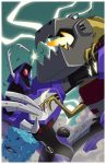 2boys autobot blue_eyes claws decepticon dinosaur glowing glowing_eyes grimlock insignia machine machinery marcelomatere mecha monocle multiple_boys no_humans open_mouth personification red_eyes robot sharp_teeth shockwave_(transformers) teeth transformers transformers_animated tyrannosaurus_rex