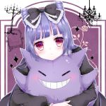 >:< 1girl aki_(akinyaaaaa) armchair bangs black_dress blunt_bangs blush bow candelabra chair character_doll closed_mouth dress frilled_bow frills gengar gothic_lolita head_rest head_tilt highres juliet_sleeves lolita_fashion long_hair long_sleeves looking_at_viewer original pink_eyes pokemon puffy_sleeves puppet purple_hair solo sparkle stitches upper_body