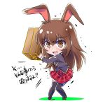 1girl brown_eyes brown_hair carrying carrying_over_shoulder chibi commentary_request crying heavy iesupa rwby rwby_chibi solo translation_request velvet_scarlatina