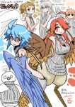 2017 5girls ahoge bare_back bird blue_wings breasts brown_eyes brown_hair centaur_no_nayami character_request copyright_request crossover digitigrade eyebrows_visible_through_hair feathered_wings flat_chest grey_eyes hair_over_one_eye halo harpy head_scarf head_wings hitomi_sensei_no_hokenshitsu long_hair medium_breasts meme_attire mitama_manami monster_girl monster_musume_no_iru_nichijou multiple_crossover multiple_girls orange_eyes orange_hair papi_(monster_musume) pigeon redhead rin_(torikissa!) scales shake-o shiny shiny_skin short_ponytail silver_hair smile talons tobita_hina torikissa! trait_connection translation_request twitter_username virgin_killer_sweater white_wings winged_arms wings