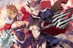 2girls aqua_eyes arm_up artoria_pendragon_(all) artoria_pendragon_(lancer) artoria_pendragon_(lancer_alter) blonde_hair braid breasts cape center_opening cleavage cleavage_cutout closed_mouth covered_navel cowboy_shot crown dutch_angle eyebrows_visible_through_hair fate/grand_order fate_(series) flag fur_trim gauntlets grey_hair hair_between_eyes hair_ornament highres hip_vent lance large_breasts multiple_girls navel outdoors outstretched_arm pauldrons polearm short_hair_with_long_locks sidelocks sunlight thigh-highs turtleneck under_boob weapon yang-do yellow_eyes