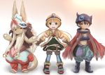 1boy 2girls :3 absurdres blonde_hair blue_legwear blush brown_eyes brown_hair closed_mouth crossed_arms eyebrows_visible_through_hair full_body furry glasses green_eyes helmet highres horokusa_(korai) long_hair looking_at_viewer made_in_abyss multiple_girls nanachi_(made_in_abyss) navel pith_helmet regu_(made_in_abyss) riko_(made_in_abyss) short_hair smile standing teeth thigh-highs twintails white_hair