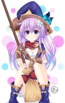 1girl boots breasts broom cleavage covering covering_crotch dress four_goddesses_online:_cyber_dimension_neptune gloves hair_ornament hat helvetica_5tandard highres jewelry knees_together_feet_apart long_hair looking_at_viewer nepgear neptune_(series) purple_hair ribbon short_dress sitting violet_eyes witch_hat