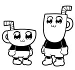 2boys :3 bkub closed_mouth cup cuphead cuphead_(game) dot_nose drinking_straw gloves greyscale looking_at_another monochrome mug mugman multiple_boys pipimi poptepipic popuko shoes shorts simple_background standing white_background