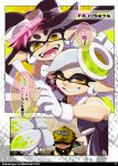 +_+ 1boy 2girls aori_(splatoon) baseball_cap black_hair black_shirt camouflage_hat character_name comic cousins dark_skin dark_skinned_male detached_collar domino_mask earrings fangs food food_on_head foreshortening fourth_wall from_behind frown gloves grey_hair grin hat hat_over_eyes headgear highres hotaru_(splatoon) inkling inkling_(language) isamu-ki_(yuuki) jewelry long_hair looking_at_viewer mask mole mole_under_eye multiple_girls object_on_head open_mouth pointy_ears shaded_face shirt short_hair smile splatoon splatoon_1 squidbeak_splatoon standing strapless sushi tentacle_hair twitter_username white_gloves yellow_eyes yellow_hat