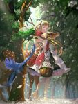 1girl bird blonde_pubic_hair blue_eyes deer dress ear_piercing flower forest full_body hair_flower hair_ornament highres holding_basket looking_at_viewer looking_back nature original piercing red_scarf scarf sleeveless sleeveless_dress solo vofan