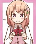 1girl bangs blush bow bowtie collared_shirt commentary eyebrows_visible_through_hair flat_chest gochuumon_wa_usagi_desu_ka? hair_ornament hairclip hoto_cocoa looking_at_viewer orange_hair outline pink_border pink_vest rabbit_house_uniform red_bow red_bowtie shirt short_hair smile solo sparkle teeth upper_body violet_eyes white_background white_outline white_shirt wing_collar yaplus
