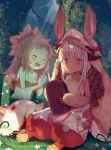 2girls :3 animal_ears blush claws closed_eyes fur helmet long_hair made_in_abyss mitty_(made_in_abyss) monster monster_girl multiple_girls nanachi_(made_in_abyss) outdoors qiqiuqiu rabbit_ears red_eyes redhead sad_smile sitting smile transparent white_hair writing yellow_eyes