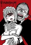 1boy 1girl @_@ blush breasts cape commentary_request cyclops dracula fangs fingernails hair_slicked_back halloween large_breasts lipstick long_sleeves looking_at_another maid_headdress makeup monochrome nail_polish nude one-eyed open_mouth original red_background red_lipstick red_nails shake-o sharp_fingernails short_hair simple_background twitter_username vampire veins