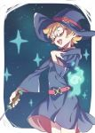 belt closed_eyes freckles glasses hat highres hooded_robe little_witch_academia lotte_jansson magic open_mouth orange_hair pink-framed_eyewear robe semi-rimless_glasses short_hair star tama under-rim_glasses wand wide_sleeves witch witch_hat