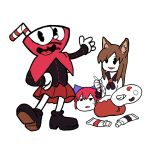 1boy 2girls :d animal_ears bangs black_footwear black_jacket blouse brown_hair commentary_request crossover cuphead cuphead_(game) disembodied_head drinking_straw eyebrows_visible_through_hair fat-feit hand_on_hip holding_brush imaizumi_kagerou jacket kneeling long_hair long_sleeves looking_at_another looking_at_viewer multiple_girls open_mouth pac-man_eyes paint_tube paintbrush palette parted_lips pleated_skirt red_eyes red_skirt seiza sekibanki shoes simple_background sitting skirt smile standing sweatdrop touhou white_background white_blouse wolf_ears yukkuri_shiteitte_ne