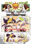 +_+ ... 2girls aori_(splatoon) artist_name bamboo_shoot black_hair breasts cleavage closed_eyes comic cousins detached_collar domino_mask earrings fangs feeding food gloves grey_hair grin hand_on_own_face hands_on_own_face happy holding hotaru_(splatoon) isamu-ki_(yuuki) jewelry long_hair looking_at_another looking_at_viewer mask medium_breasts mole mole_under_eye multiple_girls mushroom object_on_head open_mouth pointy_ears short_hair short_jumpsuit signature smile splatoon splatoon_1 spoken_ellipsis standing strapless sushi tentacle_hair translated vs wavy_mouth white_gloves yellow_eyes