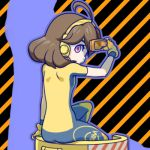 05_(artist) 1girl ahoge arms_(game) ass blue_bodysuit bodysuit brown_hair eyebrows eyelashes fingerless_gloves flat_ass flat_chest from_behind gloves goggles goggles_on_head hair_between_eyes headset holding holding_goggles looking_back lowres mechanica_(arms) multicolored multicolored_background multicolored_bodysuit multicolored_clothes outline pink_eyes purple_outline short_hair short_sleeves sitting skin_tight solo striped striped_background tareme yellow_bodysuit yellow_gloves