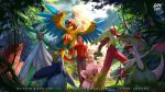 1boy archeops blaziken blue_eyes breloom brown_hair cherrim day fire forest gardevoir logan_cure long_hair nature open_mouth pokemon pokemon_(creature) pokemon_(game) pokemon_rse prinplup smile