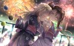 2girls alternate_costume bangs blonde_hair blurry blush bokeh bow brown_eyes brown_hair closed_eyes commentary_request cotton_candy depth_of_field dutch_angle eating eyebrows_visible_through_hair fence festival fireworks flat_chest floral_print food hair_bow highres holding holding_food ice_cream japanese_clothes kantai_collection kimono libeccio_(kantai_collection) long_hair long_sleeves looking_at_viewer mouth_hold multiple_girls na!?_(naxtuyasai) night night_sky obi outdoors profile ro-500_(kantai_collection) sash sharing_food side-by-side sky star_(sky) twintails wide_sleeves yukata