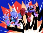 2boys cuphead cuphead_(game) explosion flying_sweatdrops gloves index_finger_raised male_focus modmad mugman multiple_boys open_mouth outstretched_arms shorts smile sound_effects white_gloves